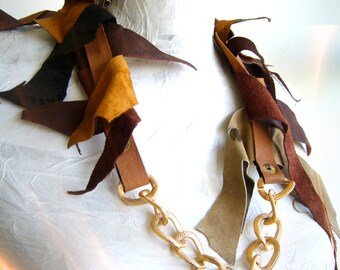 Tattered necklace leather/Leather choker bold/chain collar chunky/leather collar fuzzy