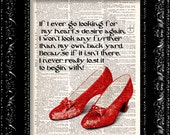 BOGO Sale Ruby Slippers - Wizard Of Oz - Dorothys Hearts Desire Quote - Dictionary Print Vintage Book Page Art Upcycled Vintage Book Art