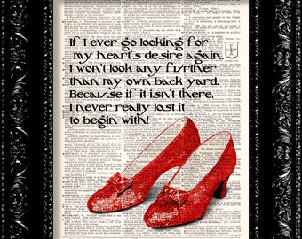 Ruby Slippers - Wizard Of Oz - Dorothys Hearts Desire Quote - Dictionary Print Vintage Book Page Art Upcycled Vintage Book Art