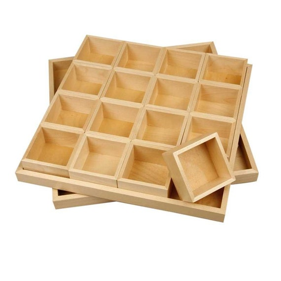 Plain wooden storage box 16 lift out compartments lid for Craft storage boxes with lids