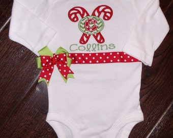 Boutique Christmas Candy Cane Initial Shirt or Bodysuit  in Short or Long Sleeves