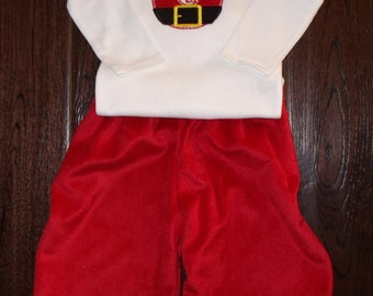 Boutique Christmas Santa or Car with Tree Shirt  Santa Minky Pants and Shirt Sizes Newborn to 8 youth