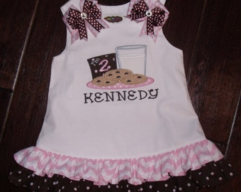 Birthday Milk and Cookie Dress, Birthday Aline Dress, Embroidered Birthday Dress, Personalized Milk and Cookie Dress
