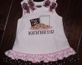 Boutique Cookies with Milk Glass Birthday Ruffle Dress Sizes 6M to 5T