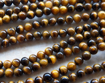 6mm A Grade - Natural Golden Brown Tiger's Eye Polished Round Gemstone Beads, 15 Inch Strand (IND1C68)