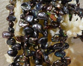 Black Pearl Beads Keshi  Cultured Pearl Beads Jewelry Making Supplies