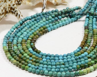"""African Turquoise 5mm 8"""" Strand Natural Gemstone Beads Jewelry Making Supplies Turquoise Beads"""