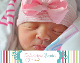 Newborn hospital hat with a bow