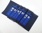 Six police box fabric squares - 7 inch printed fabric