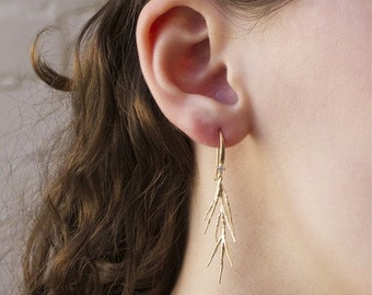 Tree Branch Earrings- Gold Plated with Swarovski Crystal