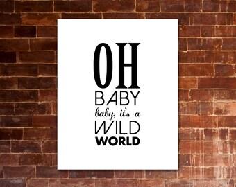 "CAT STEVENS ""Oh baby, baby it's a wild world"" PRINTABLE Artwork - Black & White"