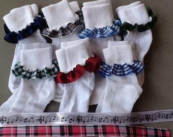 School Socks Ruffle Socks Set of 3 Pair School Uniform