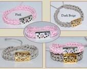 Handmade Cord Bracelet, Stackable Bracelet, Nylon Cord Bracelet, Crocheted Cord Bracelet, Rope Bracelet, Crocheted Bracelet, Pink, Beige