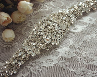SALE Rhinestone bridal applique, wedding sash belts, crystal beaded applique, wedding accessories,beaded rhinestone applique
