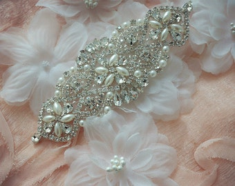 beaded sash applique, rhinestone applique, crystal applique, wedding applique, bridal headpiece