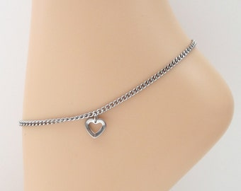 Stainless steel chain anklet with heart charm