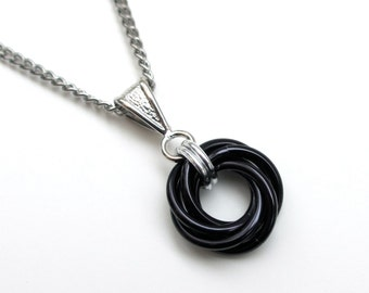 Black Love Knot chainmail pendant necklace