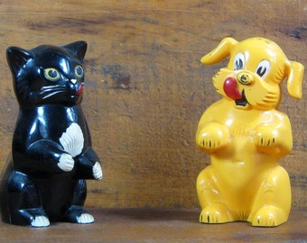 Vintage Fido & Fifi dog, cat salt and pepper shakers Dayton, Ohio Ken-L Ration promo