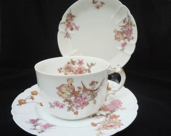 Antique French Bone China Haviland & Limoges Teacup, Saucer and Desert Plate, Trio China - c.1888-1893