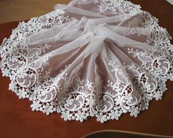 off white Lace Trim, cotton Embroidered floral lace, scalloped lace trim, bridal trim lace