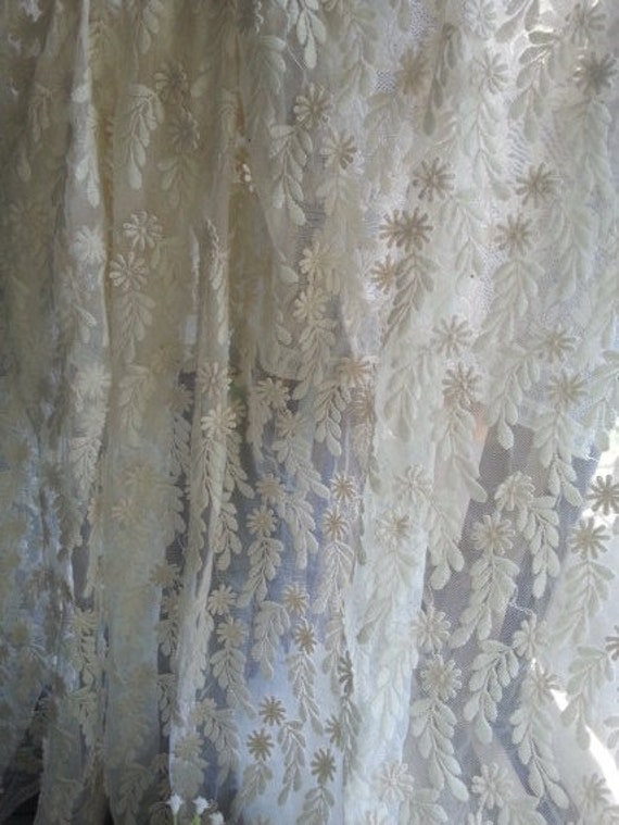 items similar to ivory lace trim vintage lace curtain