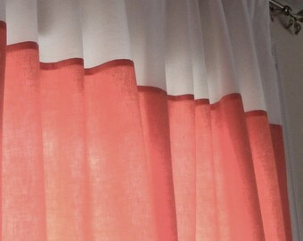 Curtain Panels Nursery Curtains Medium Rosy Coral and Cream Fully Lined any color choice