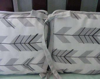 Baby Bedding Crib Bumper / White and Grey  Premium Tonal Arrow Modern Crib Bedding