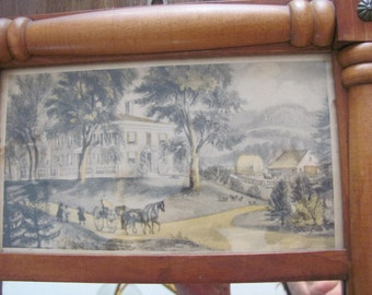 """Vintage Wall Mirror With Framed print On Top"""" A New England Home"""""""