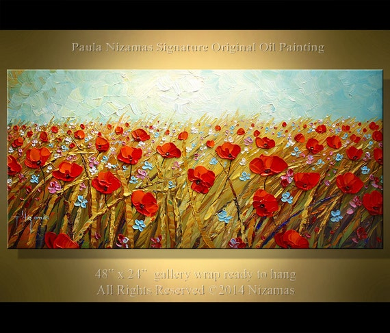 "Prairie Poppies 48"" ABSTRACT ORIGINAL Palette Knife Thick Texture by Paula Nizamas ready to hang Ready to ship"