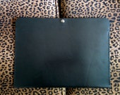 Genuine Leather Portfolio-Black with Black Stitching - Handmade in the USA