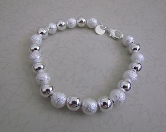 silver beaded bracelet sterling silver 925