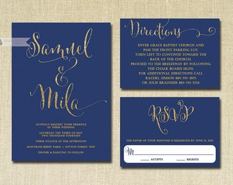 Navy & Gold Glitter Wedding Invitation RSVP Info Card 3 Piece Suite Modern Deco Chic Vintage Glam Sparkle Navy Blue DIY or Printed - Mila