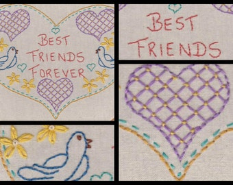 Best Friends forever No 1. Hand Embroidery Pattern by PDF.Heart shape