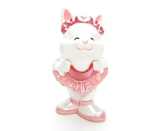 Hallmark Bunny in Tutu Merry Miniatures Vintage 1988 Valentine's Day Rabbit Ballerina in Red & Pink Dress