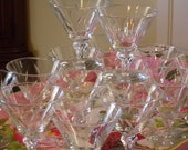 Set of Fourteen Vintage Sherbert Glasses in a Etched Cut Wheat Pattern ~ By Libbey Rock Sharpe ~ SIMPLICITY