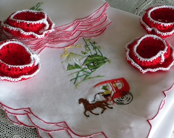 Vintage Hand Embroidered  ~ Linen Luncheon or Bridge Cloth Matching Napkins  ~ Handmade Crochet Nut Cups