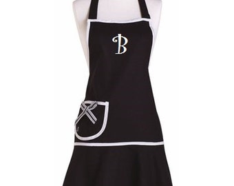 Classy Monogrammed Black Apron, Personalized Jessie Steele Apron, Black Apron, Elegant Apron, Embroidered Gift Idea