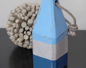 Coastal decor, Lobster Buoy, Blue White Navy, Nautical Wooden by SEASTYLE