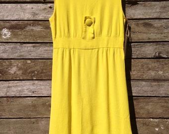 1960's 'Saks Fifth Ave Exclusive'. Fluro Bright Yellow Mini Dress