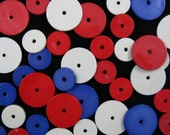 "Reserved for nerdysuperchick5 - 1/2"" and 3/4"" Round Red, White and Blue Flat Beads - Over 800 in the Group"