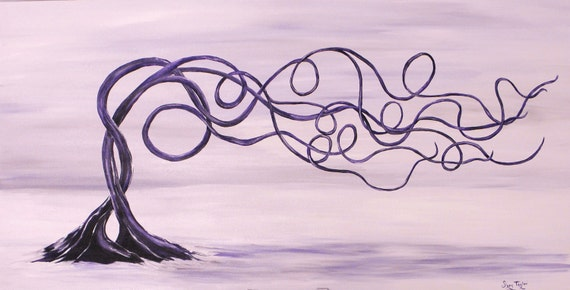 Purple Trees in Love, original art, fantasy art, tree painting, romantic painting