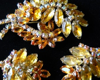 Gorgeous Garne Brooch and Earring Set Amber and AB Rhinestone Demi Parure Vintage Signed
