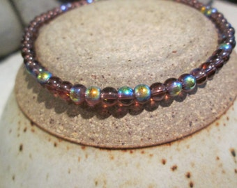 """ankle bracelet glass beaded -iridescent 4mm  10 """" long to fit any ankle toggle or lobster claw clasp"""