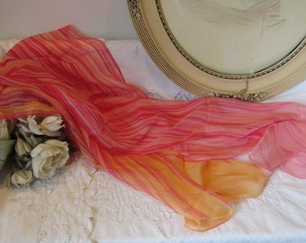 Beautiful vintage French long scarf. Red and white..... Paris chic....