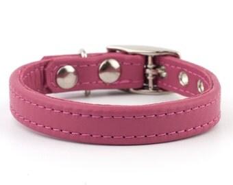 Soft Barbie Pink Leather Dog Collar
