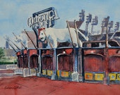 watercolor ORIGINAL Detroit Tigers, Baseball, Comerica Park Tigers, Detroit, Stadium, watercolour