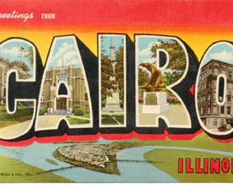 Linen Postcard, Greetings from Cairo, Illinois, Large Letter, Curt Teich, 1947