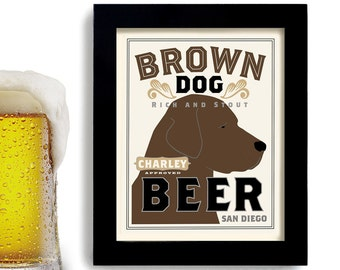 Chocolate Lab Retriever Brown Dog Art Print Beer Bar Theme Personalized Labrador Gift for a Man Poker Room Hunting Dog