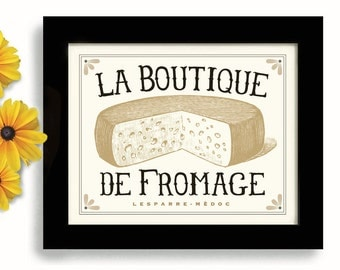 French Kitchen Decor Fromage Kitchen Art types of Cheese Paris France Cooking Art Print Cheese Shop French Country Home