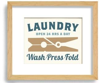 Laundry Room Decor Clothespin Vintage Art Sign Wall Print Powder Room